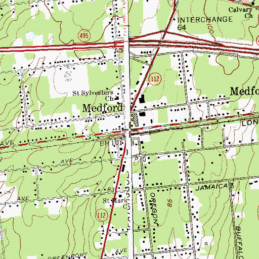 Topographic Map of Medford, NY
