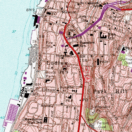 Topographic Map of Public School 19, NY