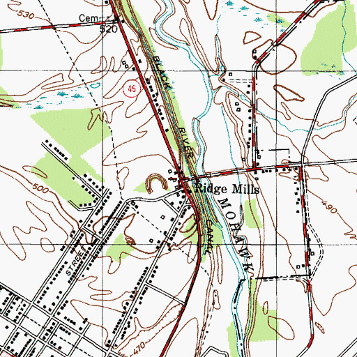 Topographic Map of Ridge Mills, NY