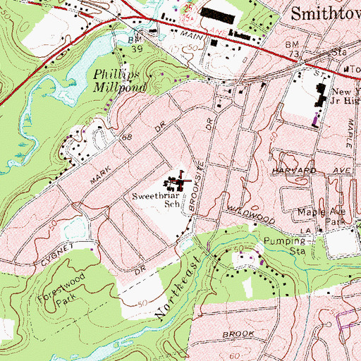 Topographic Map of Sweetbriar School (historical), NY