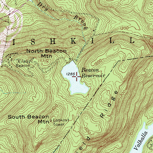 Topographic Map of Beacon Reservoir, NY
