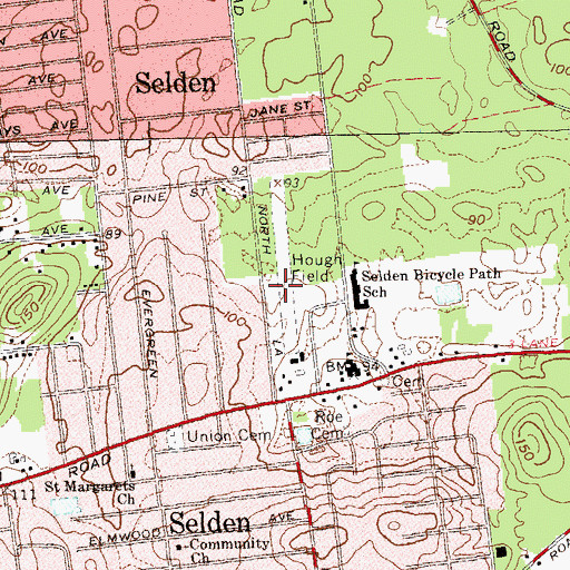 Topographic Map of Hough Field (historical), NY