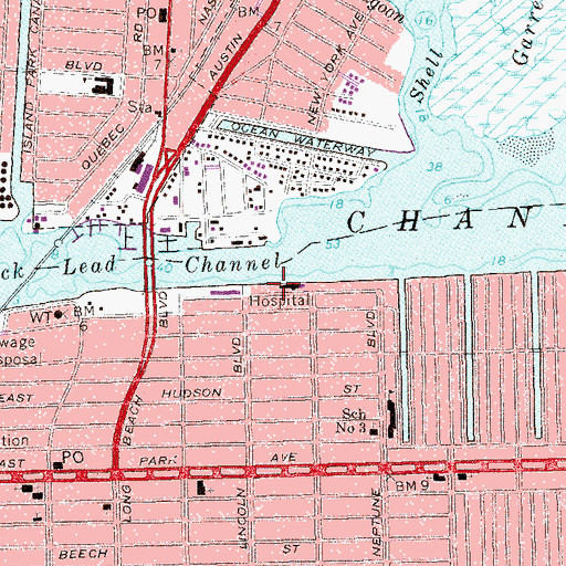 Topographic Map Of Long Beach Memorial Hospital Heliport Ny