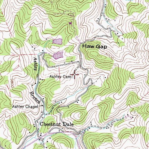 Topographic Map of Ashley Cemetery, NC