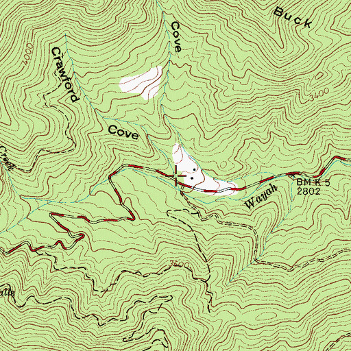 Topographic Map of Crawford Cove, NC