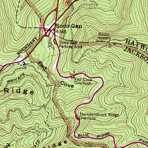 Topographic Map of Fed Cove Overlook, NC