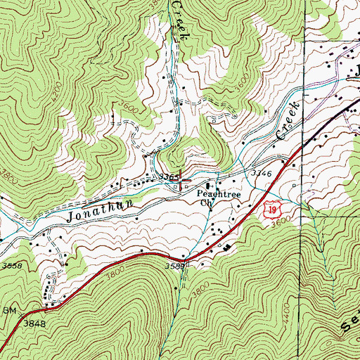 Topographic Map of Indian Creek, NC