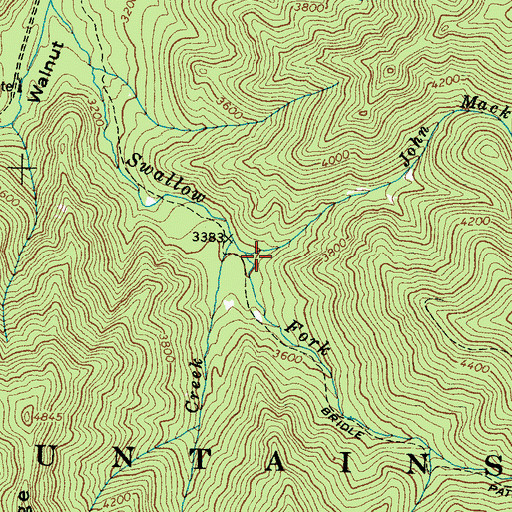 Topographic Map of John Mack Creek, NC