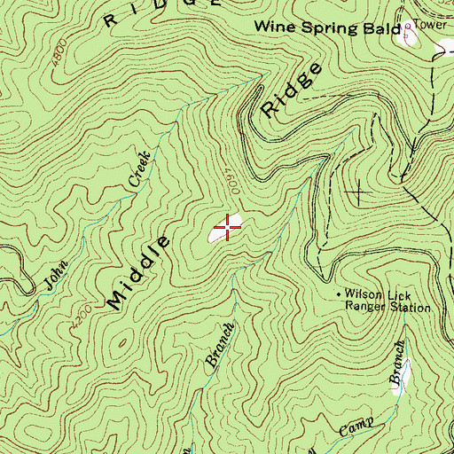 Topographic Map of Middle Ridge, NC
