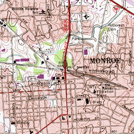 Topographic Map of Monroe, NC