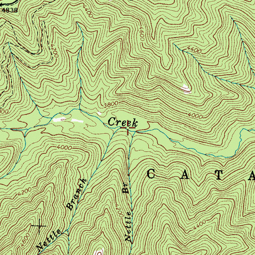 Topographic Map of Nettle Branch, NC