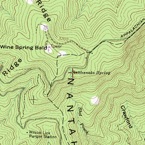 Topographic Map of Rattlesnake Spring, NC
