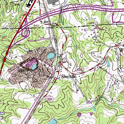 Topographic Map of Shelton, NC