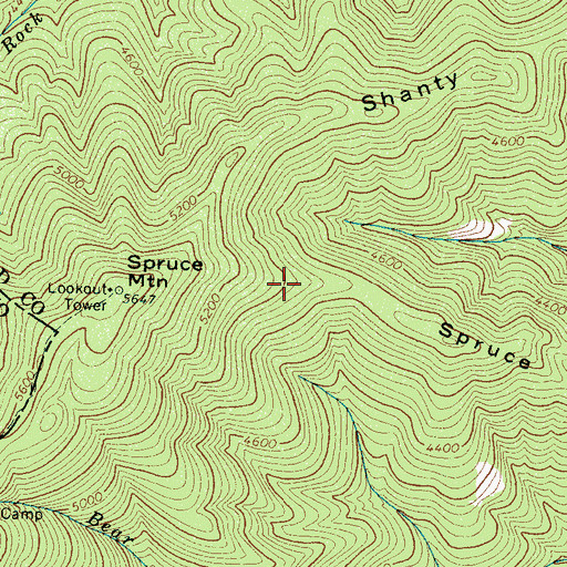 Topographic Map of Spruce Mountain Ridge, NC