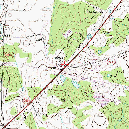 Topographic Map of Turner Church, NC